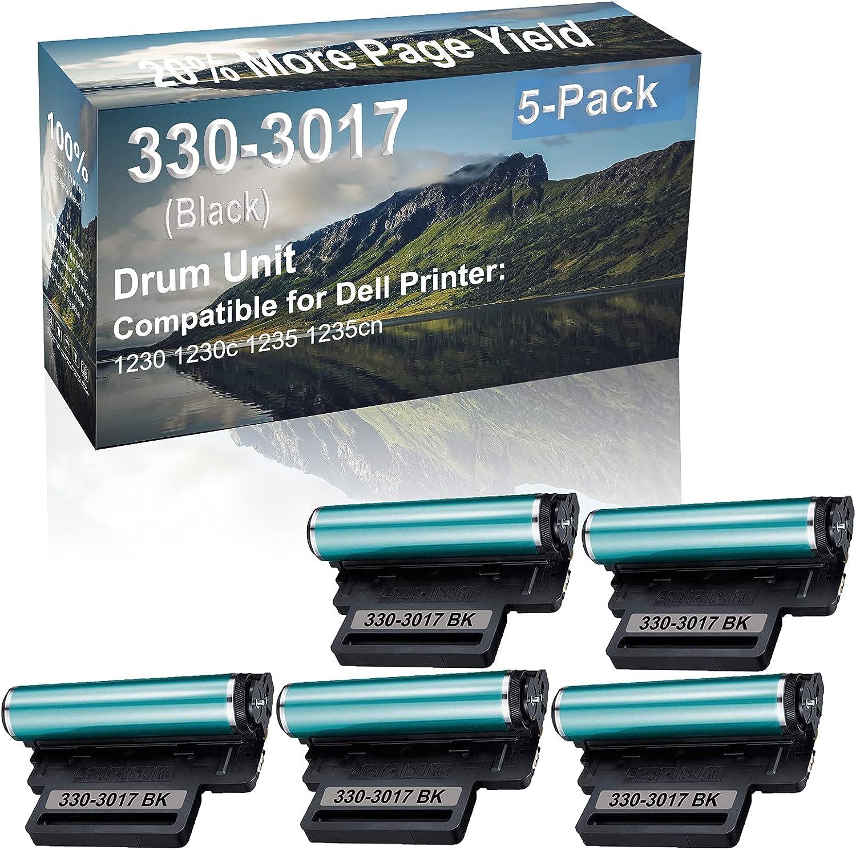5-Pack Compatible 330-3017 Drum Kit use for Dell 1230 1230c 1235 1235cn Printer (Black)