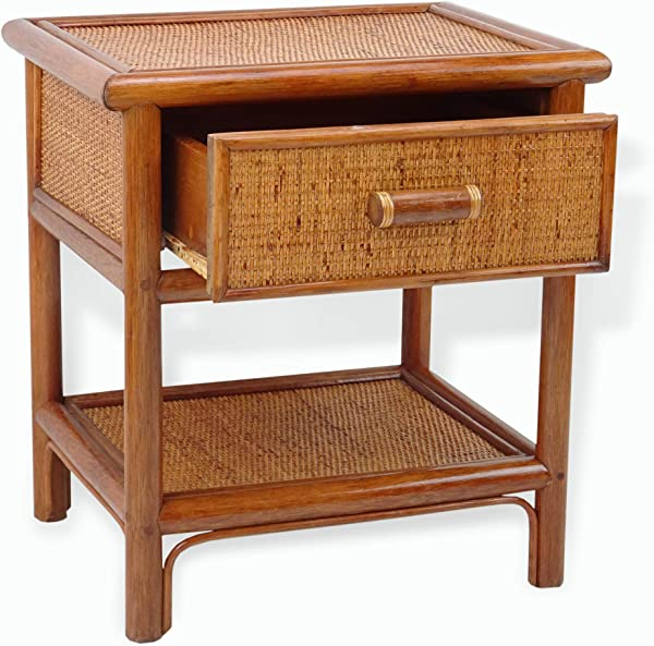 SK New Interiors Night Table W 1 Drawer Natural Rattan Handmade