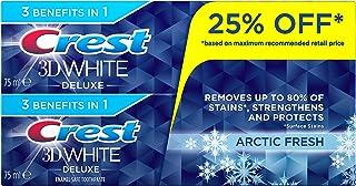 Crest 3D White Deluxe Arctic Fresh, Enamel Safe Toothpaste, 2 x 75 ml