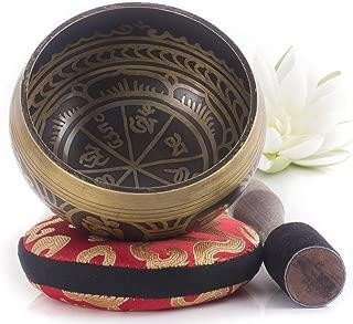 Silent Mind ~ Juego De Cuencos Tibetanos ~ Diseño Antiguo ~ Con Mazo De Superficie Doble Y Cojín De Seda ~ Promueve La Paz, La Curación De Chakras Y La Atención Plena ~ Un Regalo Exquisito