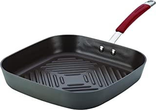 Rachael Ray Cucina Hard-Anodized Nonstick 11-Inch Deep Square Grill Pan, Gray with Cranberry Red Handle