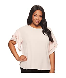Plus Size Drop Shoulder Tiered Sleeve Textured Blouse