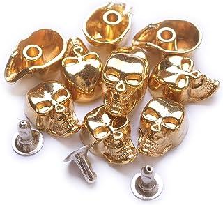 Bobeey 10pcs 10x15mm Gold Skull Rapid Rivet Studs,Skull Rive
