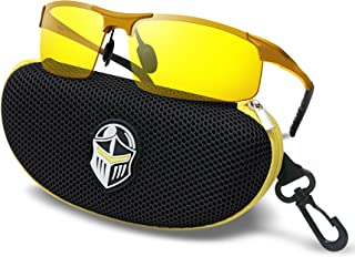 Night Driving Glasses - Semi Polarized Yellow Tint HD Vision Anti Glare Lens - Unbreakable Metal Frame with Car Clip Holder - Knight Visor