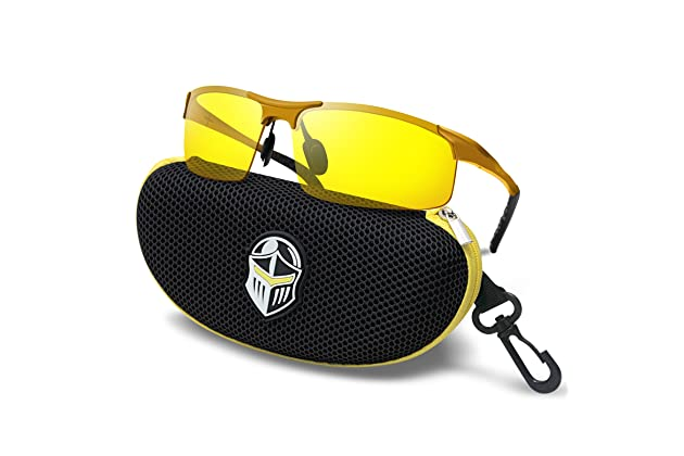 ffe53ee11dfa Amazon.com   BLUPOND Night Driving Glasses - Semi Polarized Yellow Tint HD  Vision Anti Glare Lens - Unbreakable Metal Frame with Car Clip Holder -  Knight ...