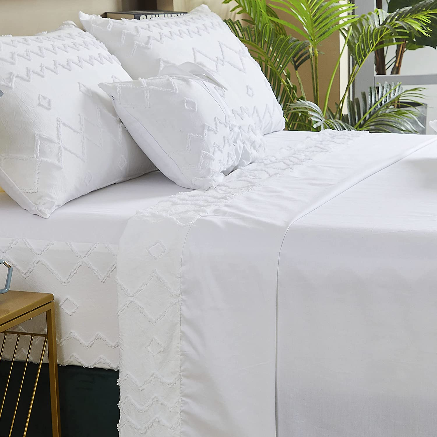 FADFAY Chic Very popular White Sheets Twin XL Max 56% OFF Room Cotton 6 Dorm Soft Bedding
