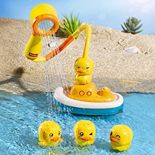 HUAWIND Baby Bath Toys for Toddlers 3 Year Old Girl Gifts,4 Ducks and 1 Small Boat