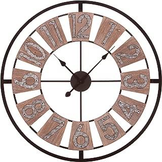 Patton Wall Decor 30 Inch Wood and Galvanized Metal Windmill Cut Wall Clock, Brown