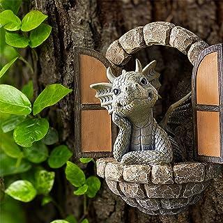 تمثال حديقة فناء جميل على شكل تنين تنين ، تمثال تنين لديكور مع أضواء ، نافذة من الراتنج على شكل تنين,D