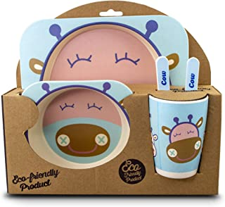 Fifth + Nest Kids Dinnerware Sets - Plates And Bowl Sets For Kids With Utensils - Made From Durable Bamboo And Great For Toddlers And Children (Blue Cow)