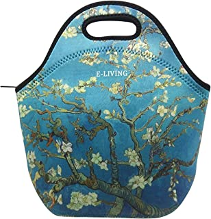 E-Living Neoprene Lunch Tote Bag - 4 Designs with Van Gogh/Monet Oil Painting Masterpieces (Almond Blossom/Starry Night/Water Liles) (Almond Blossom)