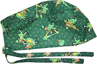 Onebasispoint Scrub Hat Irish St. Patrick Leprechauns Cotton Fabric Nurse Cap Do-Rag