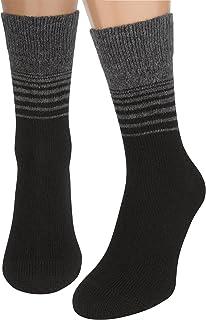 Calcetines Negros Mujer y Hombre, 2 Pares Calcetines Tobilleros Senderismo de Lana Merino Algodón Finos Térmicos