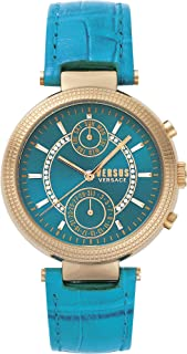 Versus by Versace Women's Star Ferry Stainless Steel Quartz Watch with Leather Calfskin Strap, Green, 20 (Model: S79050017)