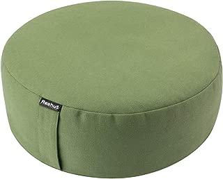 REEHUT Zafu Yoga Meditation Cushion, Round Meditation Pillow Filled with Buckwheat, Zippered Organic Cotton Cover, Machine Washable - 4 Colors and 3 Sizes