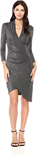 Women's Silver Glitz Vneck Asymm Dress