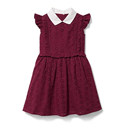 Janie and Jack Eyelet Dress (Toddler/Little Kids/Big Kids) (Burgundy) Girl