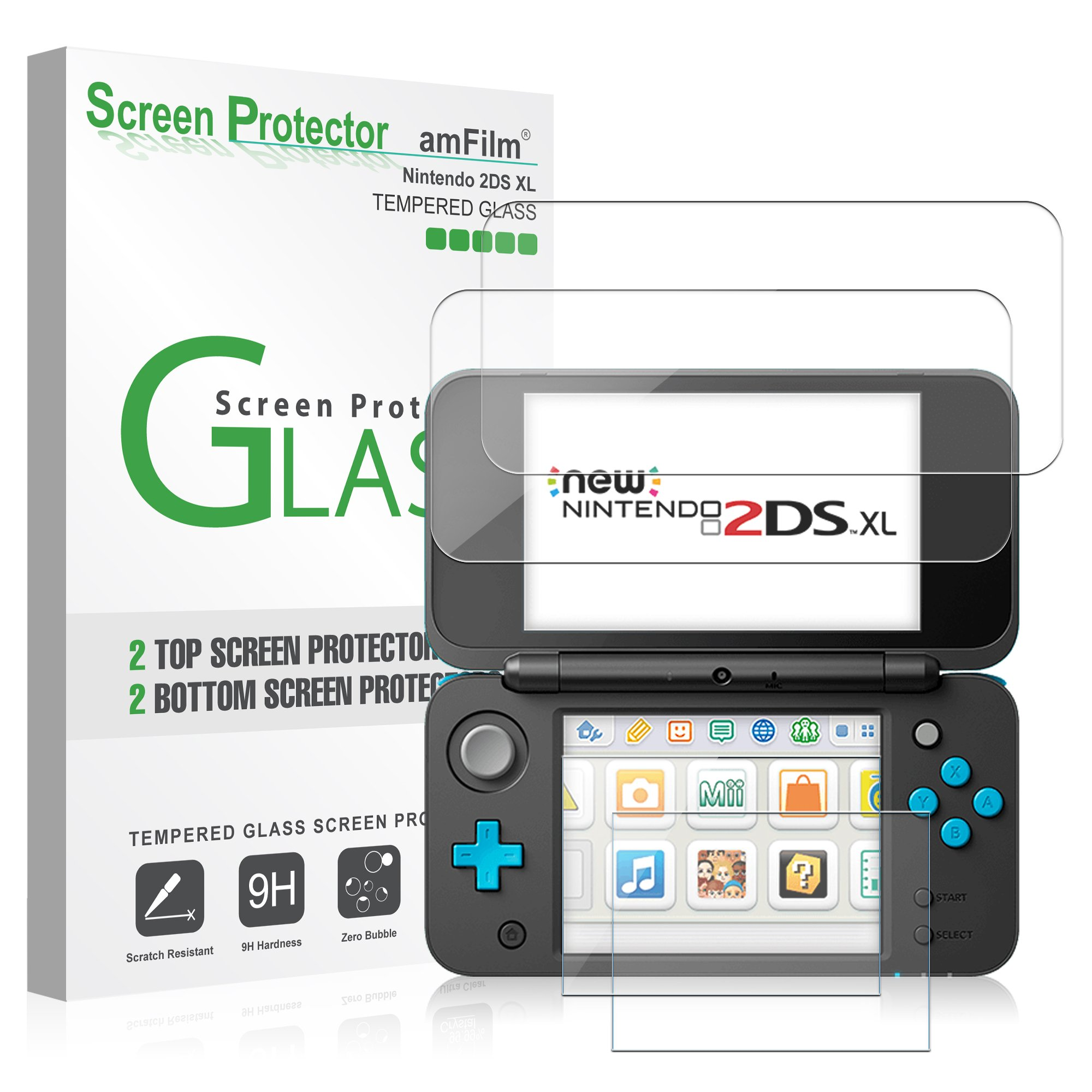 Pack de Protectores de Pantalla para Nintendo 2 DS XL, Protectores amFilm para Nintendo 2 DS XL (4 Protectores en el Pack: 2 Superiores de Cristal + 2 Inferiores Cristal): Amazon.es: Videojuegos