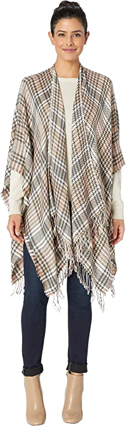 Supersoft Plaid Houndstooth Ruana