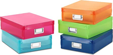 Whitmor Plastic Document Boxes - Assorted Colors (Set of 5)