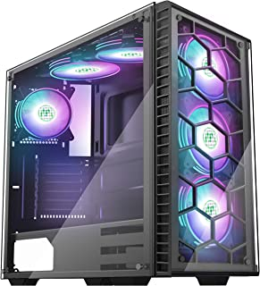 MUSETEX ATX Mid Tower Gaming Computer Case 6 RGB LED Fans 2 Translucent Tempered Glass Panels USB 3.0 Port,Cable Management/Airflow, Gaming Style Window Case(903-D6)