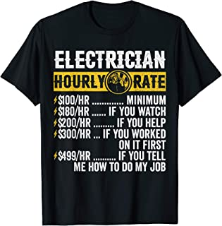 Funny Vintage Electrician Apparel, Hourly Rate Men T-Shirt