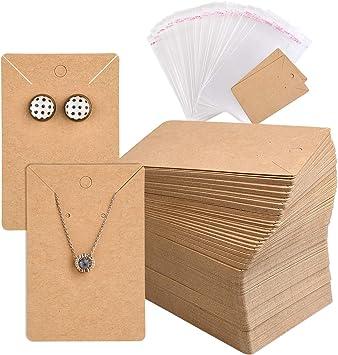 luosh 100 St/ück Kraftpapier Karten Geschenk f/ür Schmuck Armband Kette Display Halter Fall h/ängen Papier Tags