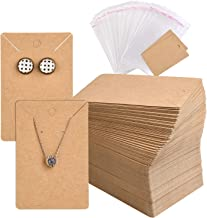 TUPARKA 120 Pack Earring Holder Cards, Necklace Display Cards with 120pcs Bags, Earring Display Cards Kraft Paper Tags for Ear Studs(Brown)