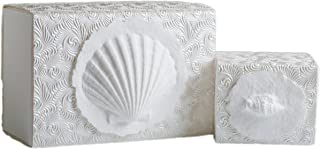 The Favorite Place Burial Urn Box, (Small Shell Box), Biodegradable for Ground Burial, Scattering Cremated Ashes in Earth Friendly Eco Urn, (Small, Metallic White Swirl)