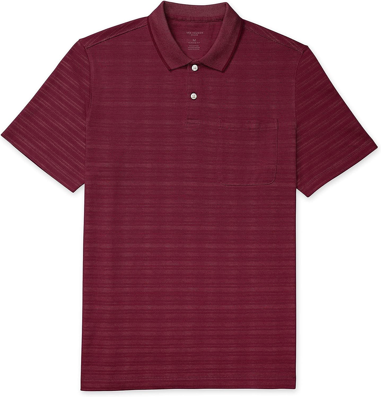Van Heusen Men's Flex Short Sleeve Stretch Stripe Polo Shirt