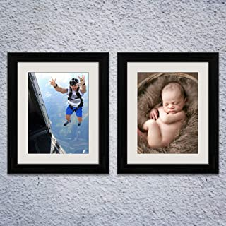 ArtzFolio Wall & Table Photo Frame D524 Black 8x10inch;Set of 2 PCS with Mount