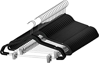 Premium Velvet Skirt Hangers (20 Pack) Non Slip Velvet Pants Hangers with Metal Clips, 360° Hook, Durable Ultra Thin Space Saving Velvet Hangers, Notched Clothes Hangers for Suits, Dress & Shirt