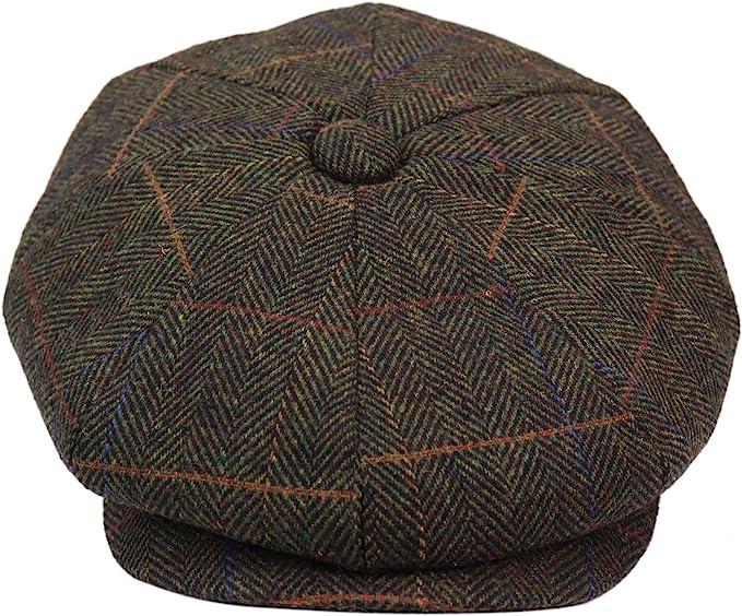 Edwardian Men's Fashion & Clothing 1900-1910s TruClothing.com Mens 8 Panel Hat Flat Cap Newsboy Grandad Tweed Check Vintage Peaky Baker Boy  AT vintagedancer.com