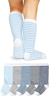 LA Active Knee High Grip Socks – 5 Pairs - Baby Toddler Non Slip/Skid Cotton (Boys Stripes, 4-6 Years)