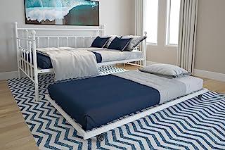 تختخواب و Trundle فلزی DHP مانیل ، سایز بزرگ و دوقلو سایز بزرگ ، چند منظوره ، سفید