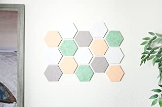Hexagon Tile Bulletin Board/Memo Board for Wall, Pastel Tones - 15 Felt Tiles (6