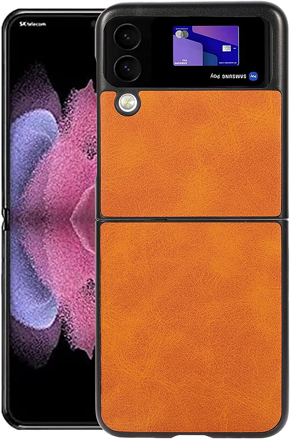 Z Flip 3 Case,Galaxy Z Flip 3 5G Case, DAMONDY Slim Thin Business PU Leather Soft Anti-Slip Full Body Protective Phone Cover Cases Compatible with Samsung Galaxy Z Flip 3 5G -Brown
