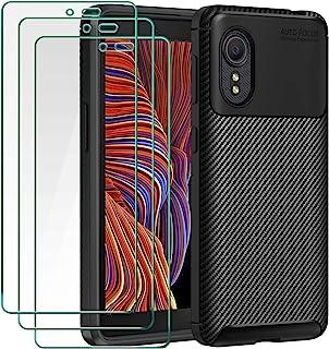 ivoler Coque pour Samsung Galaxy Xcover 5 / XCover5, avec Pack de 3 Protection écran en Verre Trempé, Fibre de Carbone Noi...