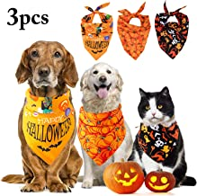 JUSTDOLIFE 3PCS Dog Bandana Halloween Pet Bandana Pet Kerchief Scarf Set Halloween Dog Bandanas Triangle Bibs Scarf Accessories Cats and Dogs