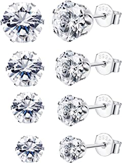 4Pairs Sterling Silver Cubic Zirconia Stud Earrings for Women Men Round Cut CZ Earring Set 4-7mm