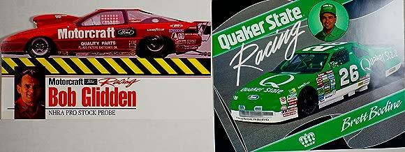 1993 - NHRA / Winston Drag Racing - 2 Hero Cards - Bob Glidden - Pro Stock / Ford Probe - Motorcraft / Ford Racing / NASCAR : Brett Bodine - Quaker State Racing - Ford Thunderbird - OOP - Like New - Collectible