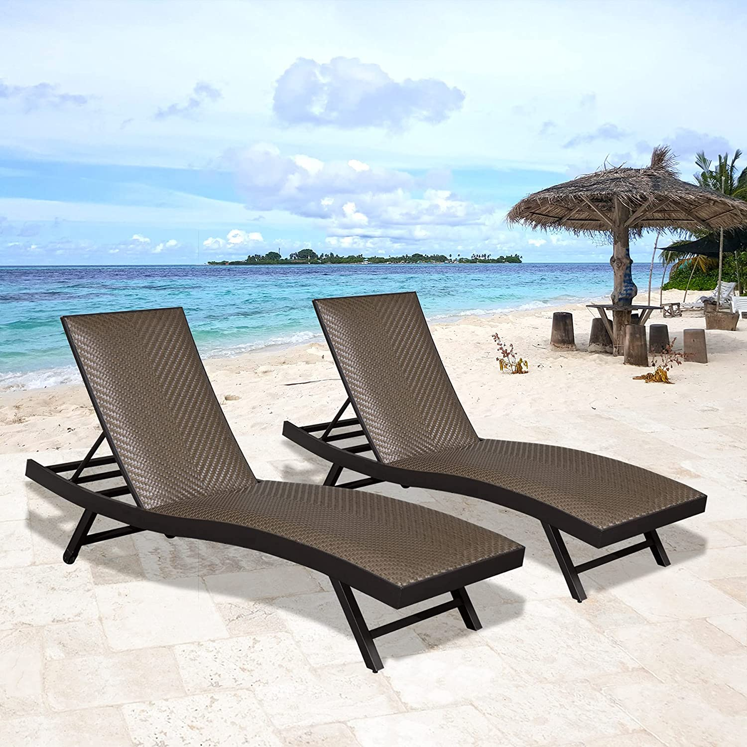 Set of 2 Outdoor Chaise Lounge Lounger Chairs shop Denver Mall Patio Wicker Chair