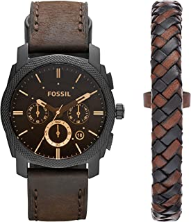 Fossil Casual Chronograph Black Dial Brown Leather Bracelet Box Set Watch for  Men - FS5251