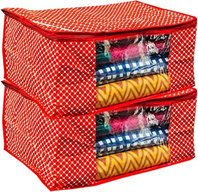 Kuber Industries™ Polka Dots Cotton 3 Layered Quilted Saree Cover Set of 2 Pcs (Red)
