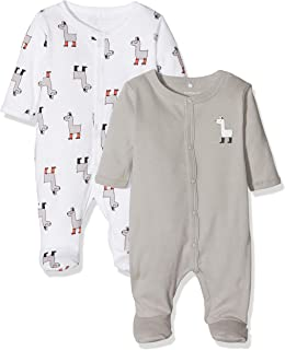 NAME IT Unisex Baby Nbnnightsuit 2p W/f Noos Schlafstrampler, Mehrfarbig Bright White Bright White, 62 2er Pack