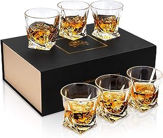 KANARS Whiskey Gläser Set, Bleifrei Kristallgläser, Whisky Glas, 6-teiliges, 300ml, Luxuriös Geschenk