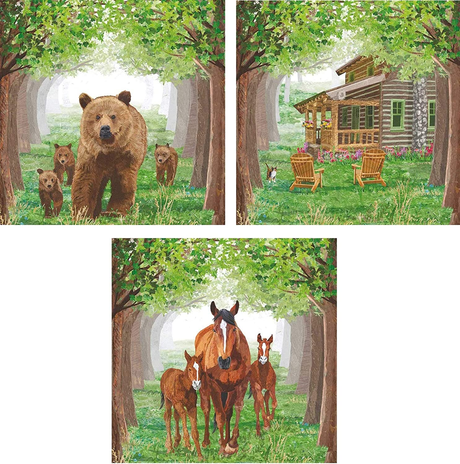 Bundle Of 3 (20 count) Packages Timberland Beverage Cocktail Napkins Featuring Log Cabin, Horses, Bears