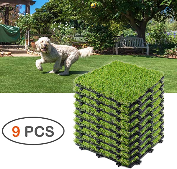 Interlocking Grass Turf Tiles Indoor Outdoor Lawn Mat For Patio House Decoration Balcony Pet Play Area Synthetic Grass Turf Tile 1 X 1 9 Pieces