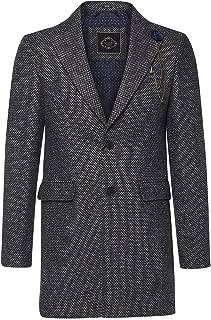 House Of Cavani Mens Crombi 3/4 Overcoat Jacket Coat Smart Herringbone Tweed Peaky Blinders Grey