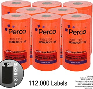 Red Pricing Labels for Monarch 1136 Price Gun – Case of 8 Sleeves, 112,000 Pricemarking Labels Value Pack – with Bonus Ink Rolls Included